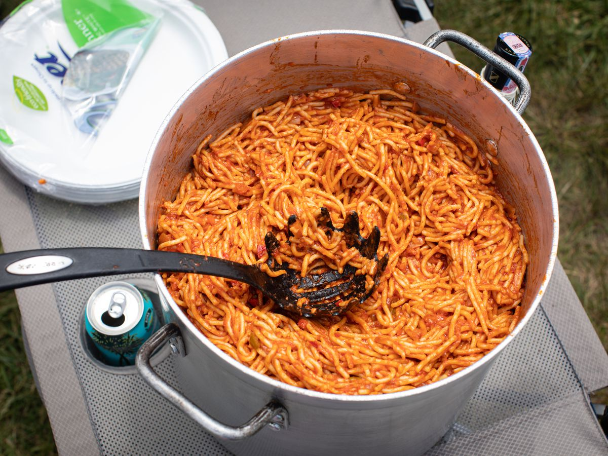 A giant pot of spaghetti.