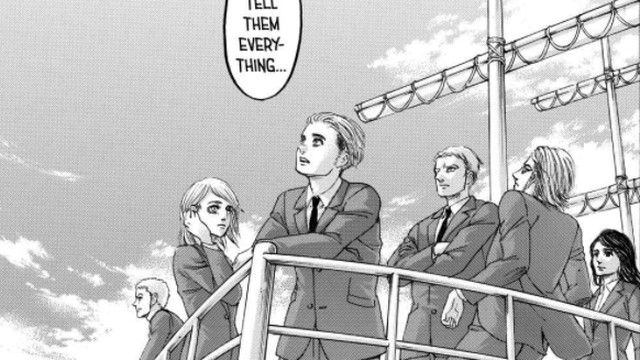 "Characters standing at the bow of a battleship, as one says ""Let's tell them everything,"" in Attack on Titan, Kodansha (2021)."