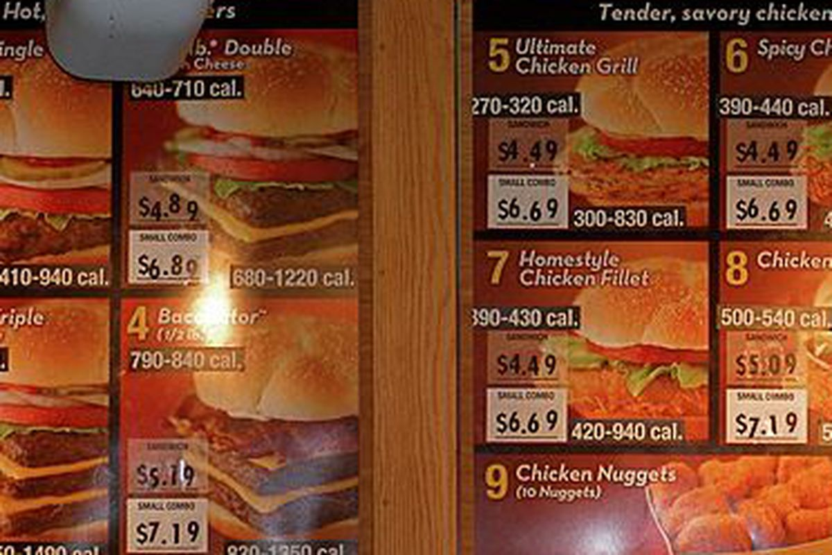 Calories posted on a Wendy's menu board.