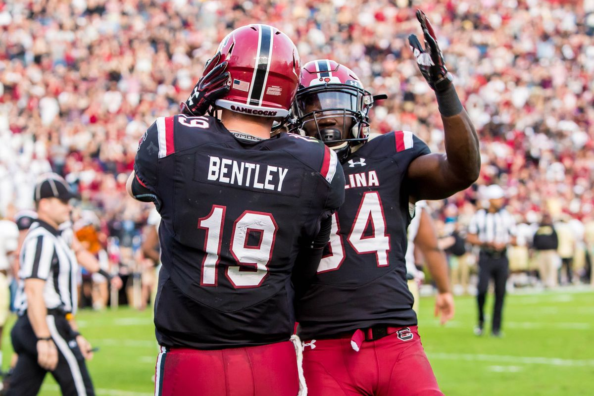 Nov 18, 2017; Columbia, SC, USA; South Carolina Gamecocks quarterback Jake Bentley (19) and South Carolina Gamecocks tight end Kyle Markway (84) celebrate a Bentley touchdown against the Wofford Terriers in the first half at Williams-Brice Stadium. Mandatory Credit: Jeff Blake-USA TODAY Sports