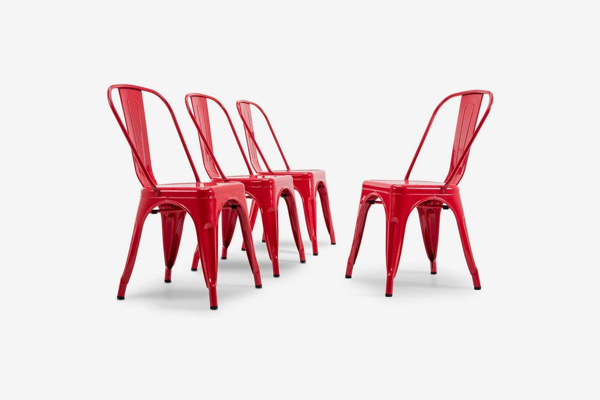 Red metal chairs.