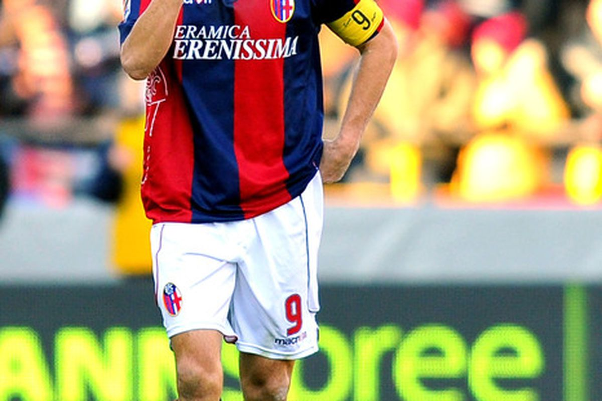 BOLOGNA ITALY - JANUARY 23:  Marco Di Vaio captain of Bologna celebrates after scoring a goal during the Serie A match between Bologna and Lazio at Stadio Renato Dall'Ara on January 23 2011 in Bologna Italy.  (Photo by Roberto Serra/Getty Images)