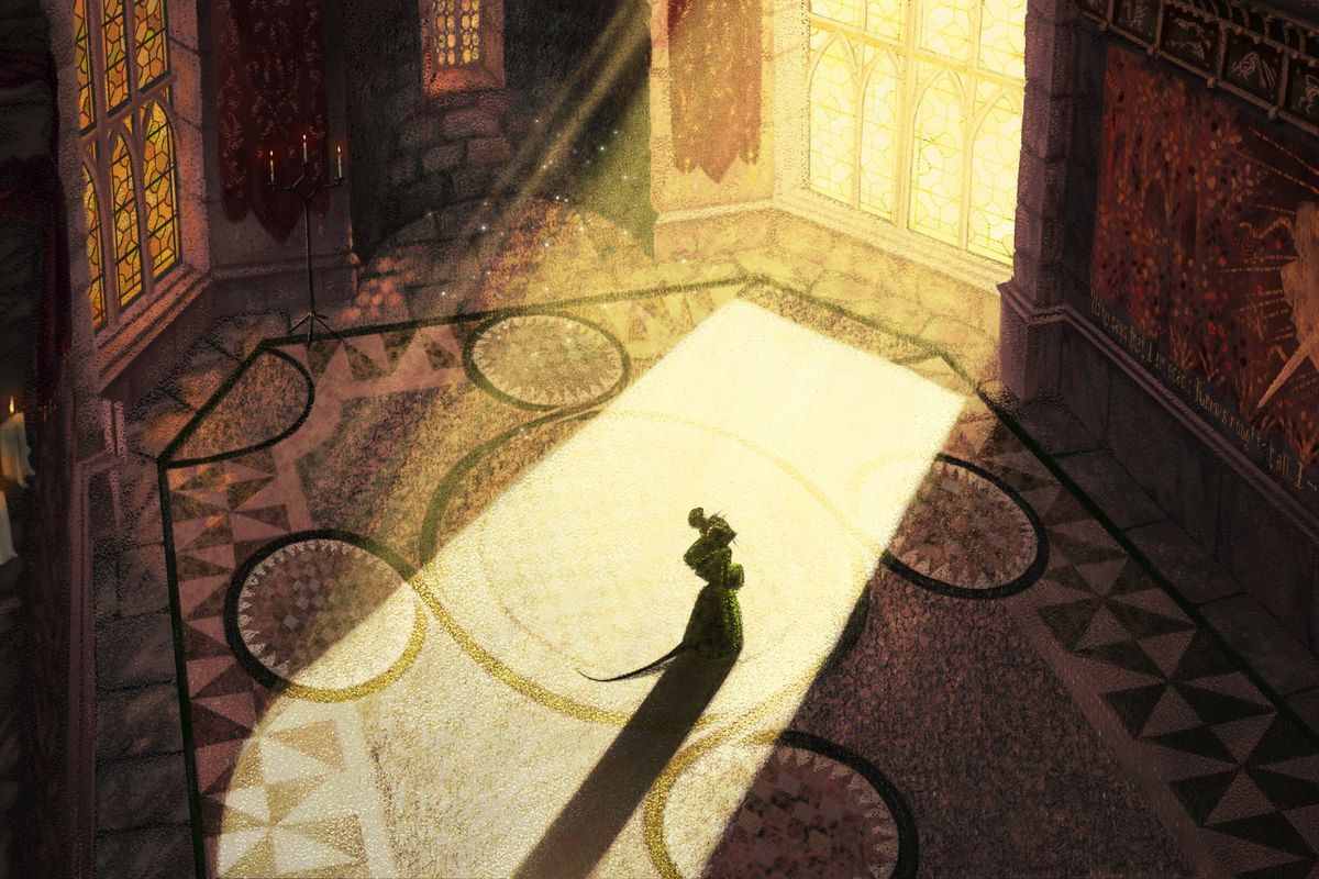 Redwall animated movie/series concept art by Pierre Breton has a mouse standing in an ornate room bathed in sunlight