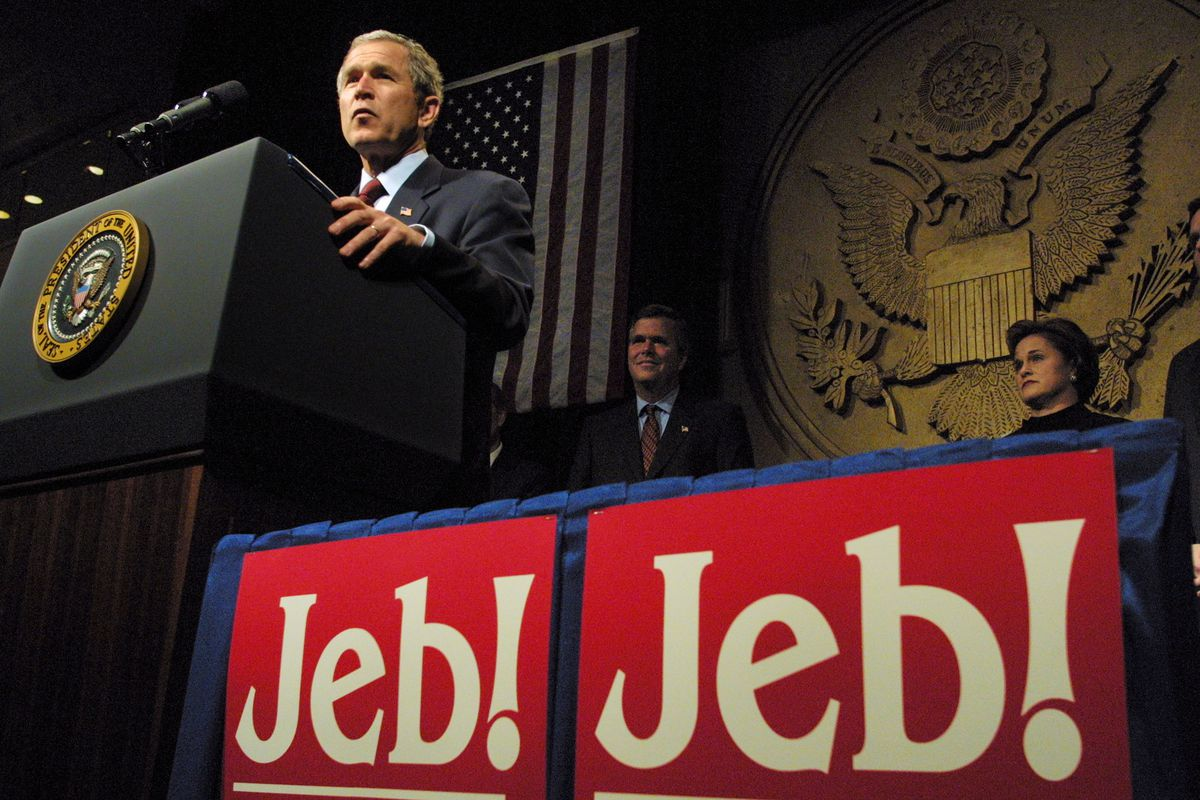 Bush At Fundraiser For Re-Election of His Brother