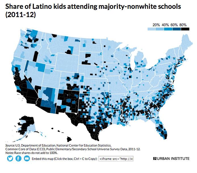urban institute school segregation map latinos