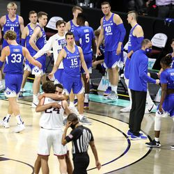 BYU walks off toward the dressing room after falling 88-78 to Gonzaga in the finals of the West Coast Conference tournament at the Orleans Arena in Las Vegas on Tuesday, March 9, 2021.