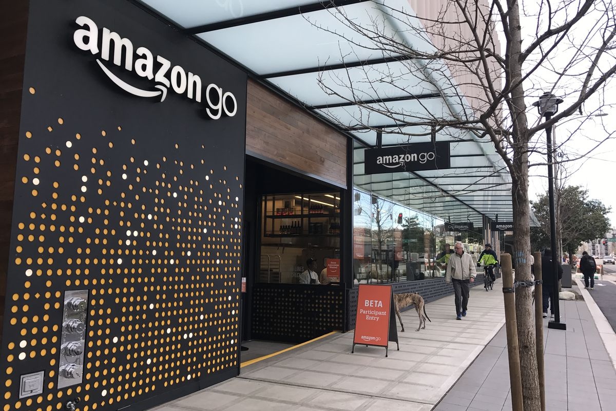 Outside the Amazon Go cashierless convenience store in Seattle.