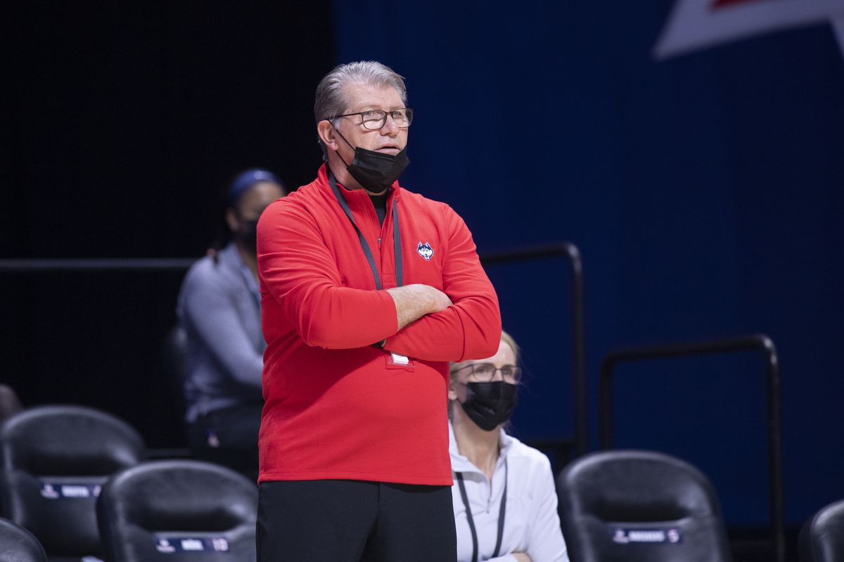Head coach Geno Auriemma of the UConn Huskies reacts during a game against the Marquette Golden Eagles at Mohegan Sun Arena on March 8, 2021 in Uncasville, Connecticut.