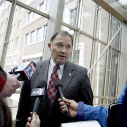 Gov. Gary Herbert speaks to the media about his decision to veto House Bill 76 which would give Utahns the right to carry a concealed weapon without a permit on Friday, March 22, 2013.