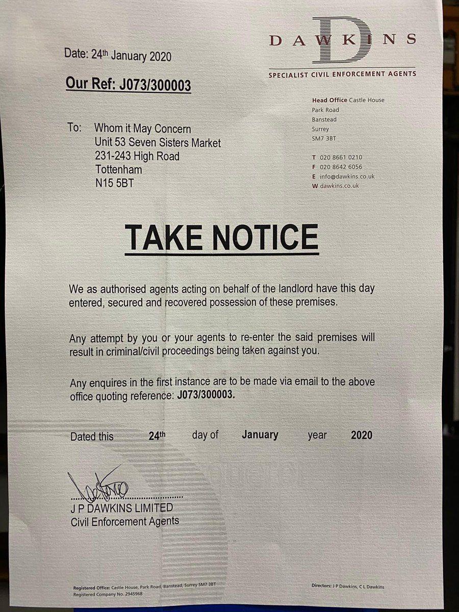 An enforcement notice at Haringey Council's Latin Village