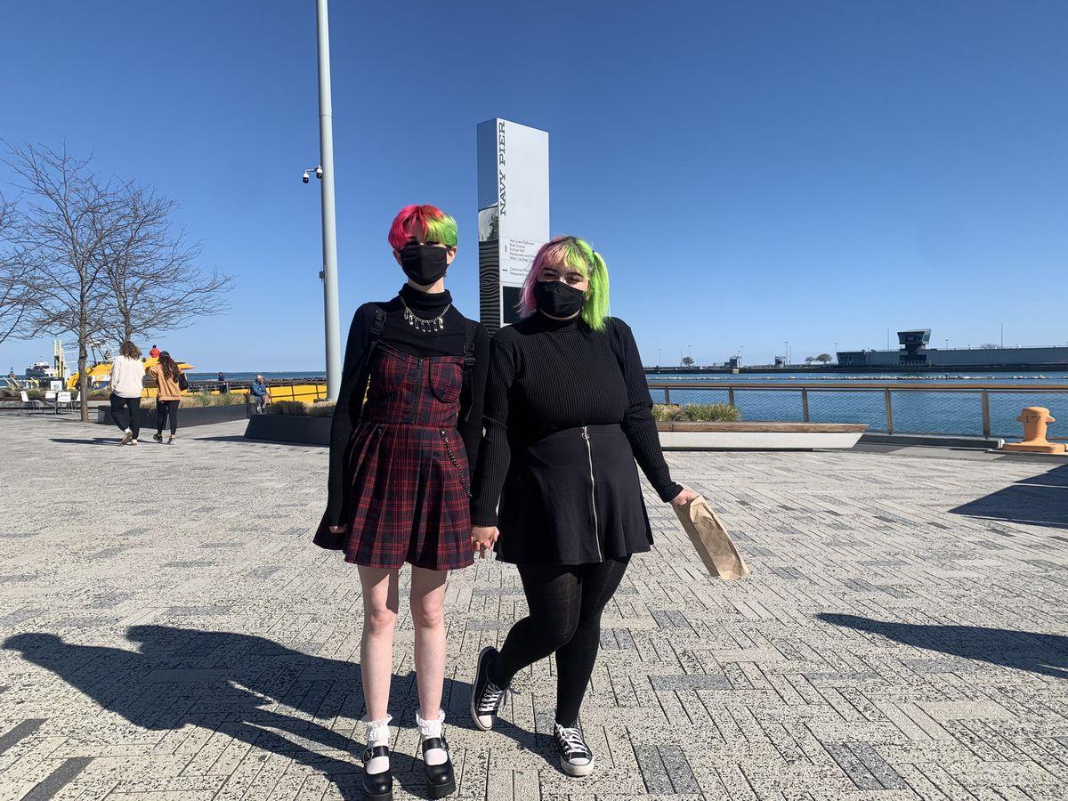 Elizabeth Bacharach (left) and Aurelia Dominguez enjoy walking around Navy Pier Friday, April 30, 2021.