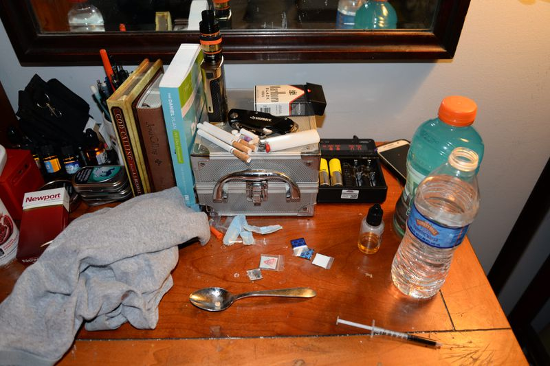 The nightstand of one of the counselors at the Freedom Ridge Recovery Lodge who recently overdosed.