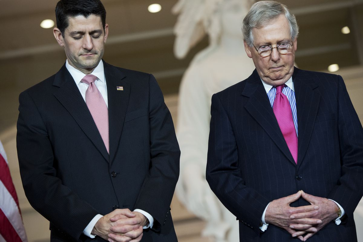 Paul Ryan and Mitch McConnell in silent contemplation.