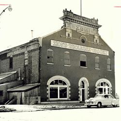 Historical photo of Brigham Young Academy building at 500 South and University Avenue in Provo from November 1959.