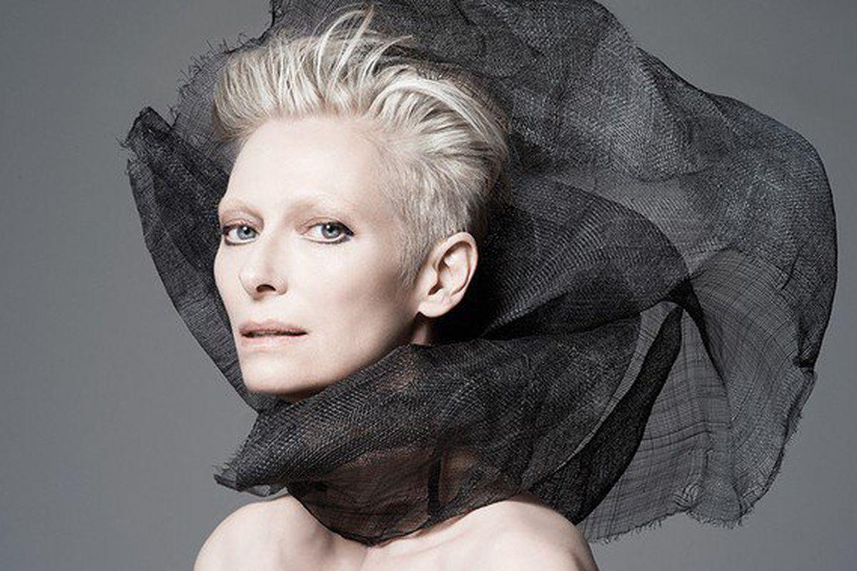 "Image via <a href=""http://www.fashiongonerogue.com/tilda-swinton-new-face-nars/"">Fashion Gone Rogue</a>"