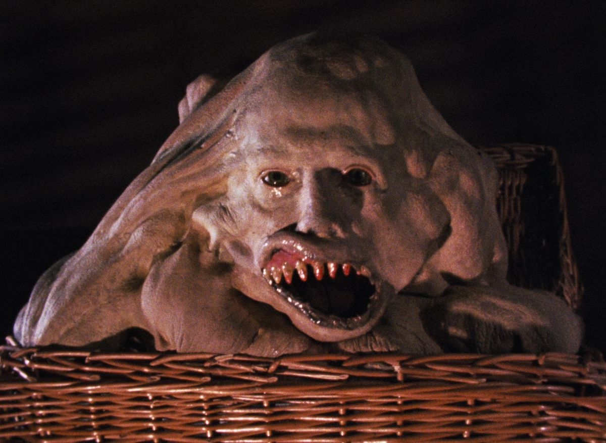 A mutant child sits in a basket with its mouth agape in Basket Case.