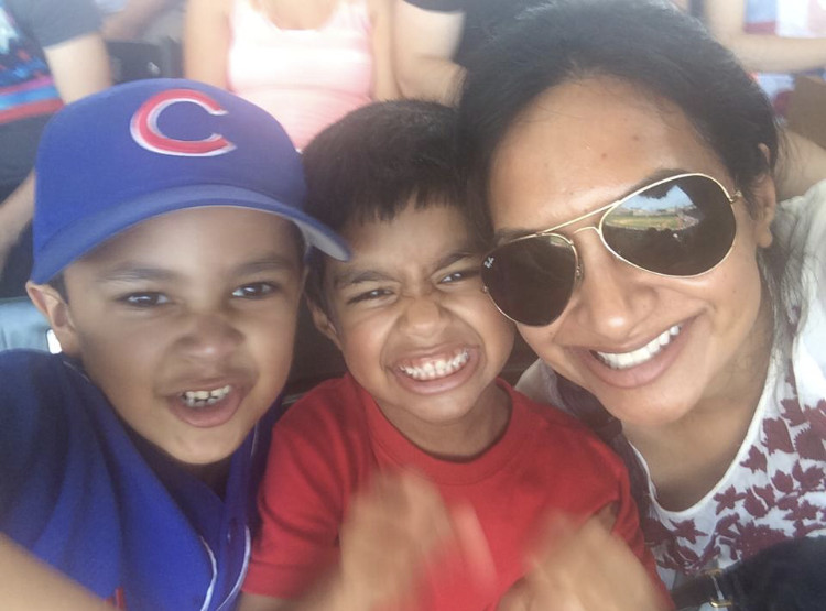 Rummana Hussain at a Cubs game in 2014 with her nephews (left to right) Elyan Jamal and Obayd Hussain. | Provided