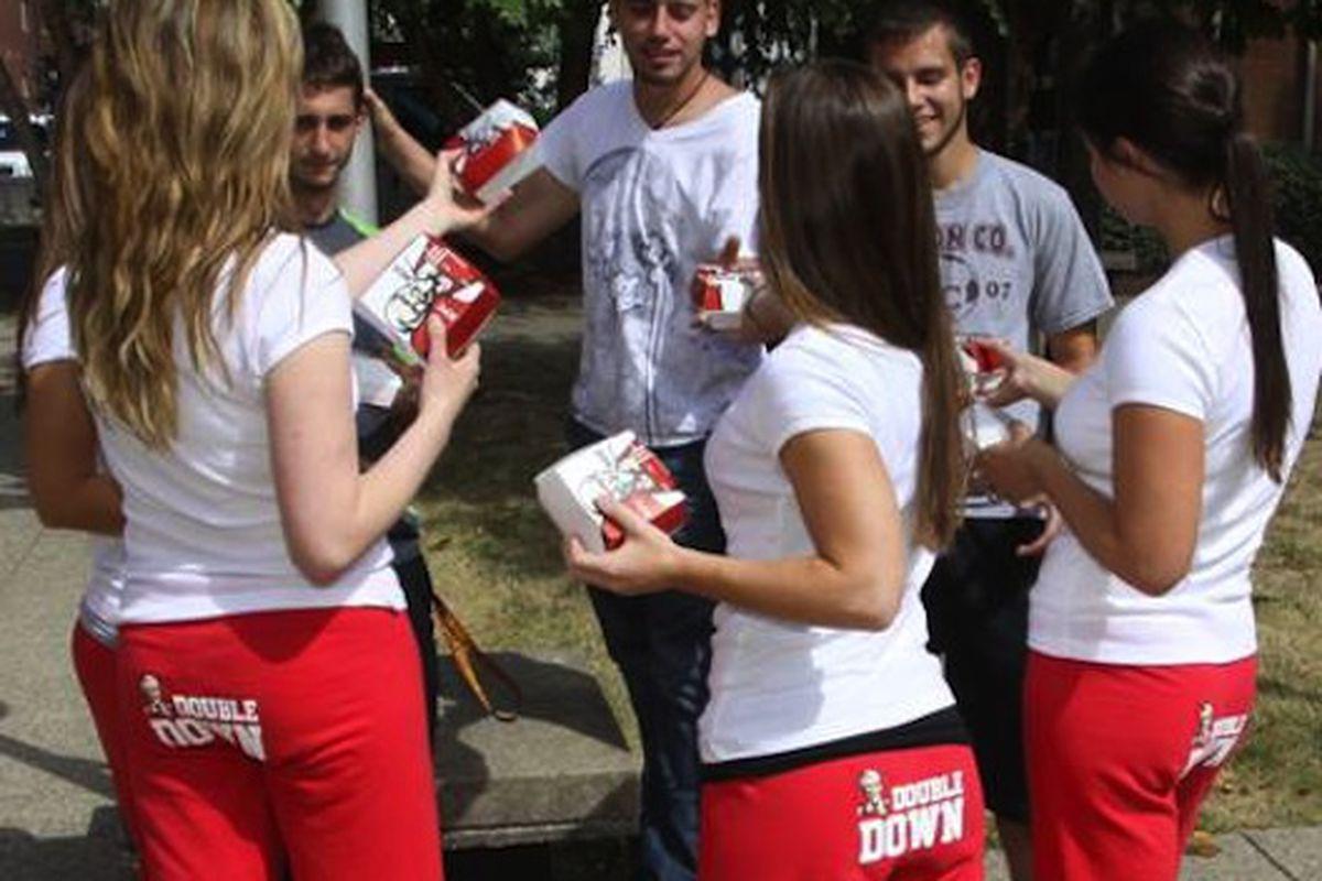 KFC's walking advertisements.