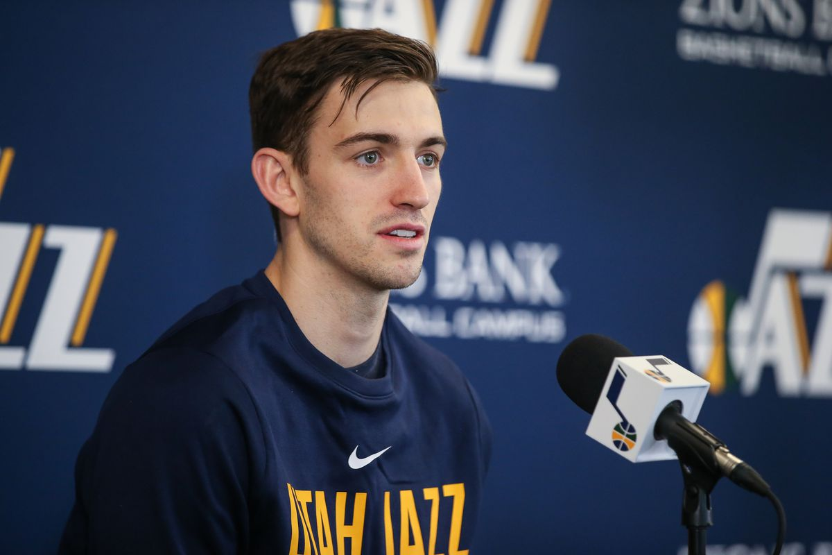 Utah Jazz guard David Stockton talks to journalists at the Zions Bank Basketball Center in Salt Lake City on Wednesday, May 9, 2018.