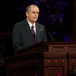 Brother Milton Camargo, first counselor in the Sunday School general presidency, speaks during the Sunday afternoon session of the 190th Semiannual General Conference of The Church of Jesus Christ of Latter-day Saints on Oct. 4, 2020.