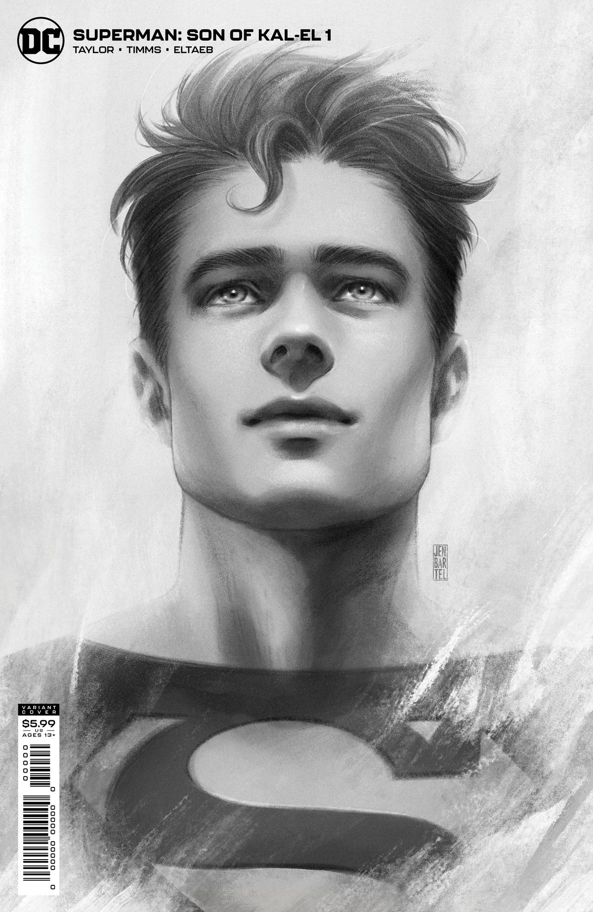 A greyscale rendering of Jon Kent/Superboy/Superman on the cover of Superman: Son of Kal-El #1, DC Comics (2021).