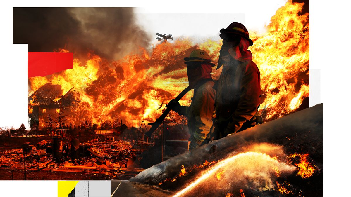 A photo collage of firefighters, flames, smoke, and an airplane dropping fire retardant.