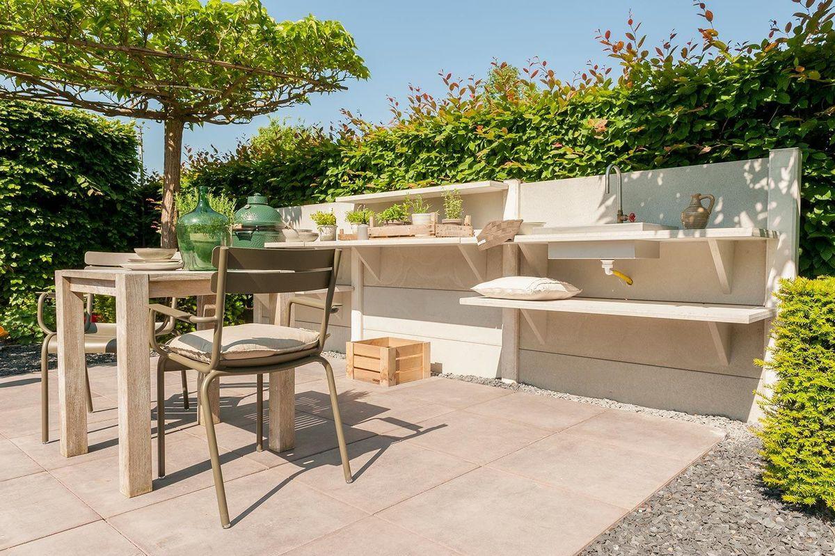 Outdoor kitchen with built-in storage