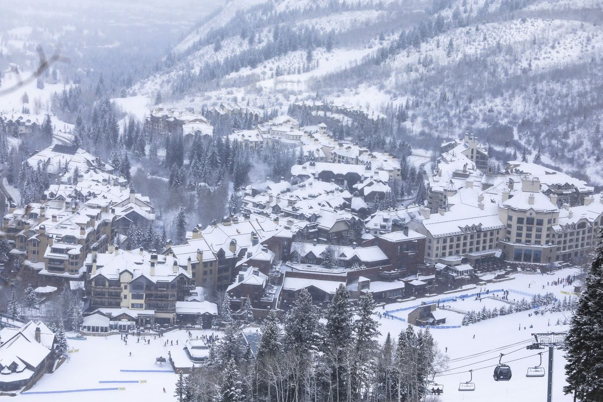 New snow coats the buildings and surrounding landscape Friday, Dec. 18, 2020, in Beaver Creek, Colo.