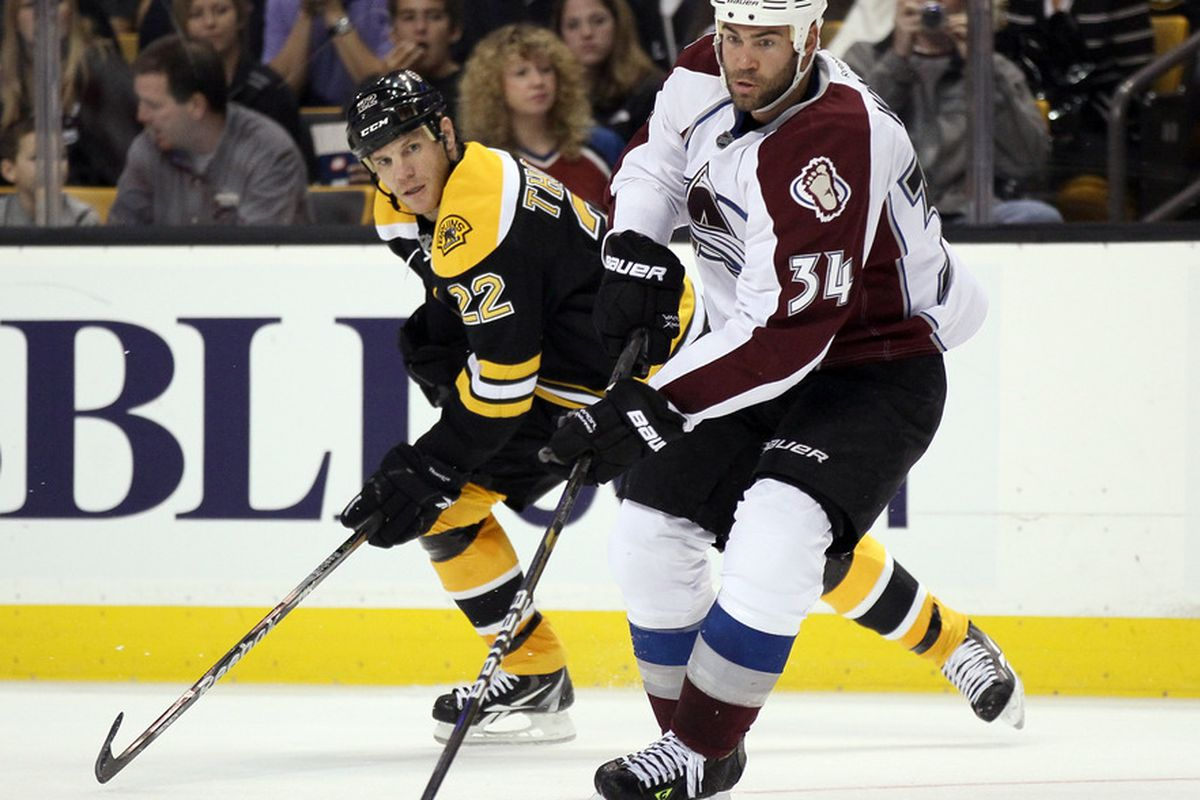 BOSTON, MA - OCTOBER 10:  Daniel Winnik #34 of the Colorado Avalanche takes the puck as Shawn Thornton #22 of the Boston Bruins defends on October 10, 2011 at TD Garden in Boston, Massachusetts.  (Photo by Elsa/Getty Images)