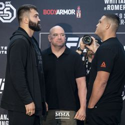 Andrei Arlovski and Tai Tuivasa square off at UFC 225 media day.