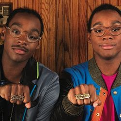 """<a href=""""http://instagram.com/p/cPKrLco5af/"""">@moscotnyc</a>: Ricky and Dee Jackson! Whoop! Our last set of twins, rocking their twin rings, and The Glick (Originals) on Ricky (L), and The Frankie (Spirits) on Dee (R). I have never had more fun photographi"""