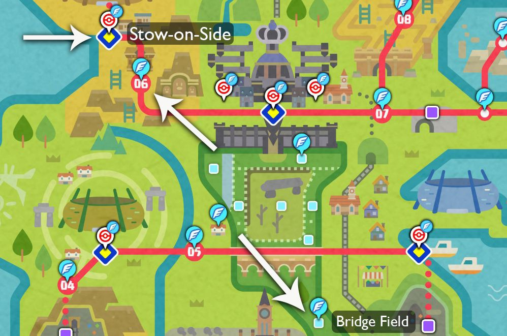 A map of the Galar region points out where players can find fossils