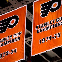 Circa 2017- the new Flyers Stanley Cup Champions banners hang afloat the Wells Fargo Center
