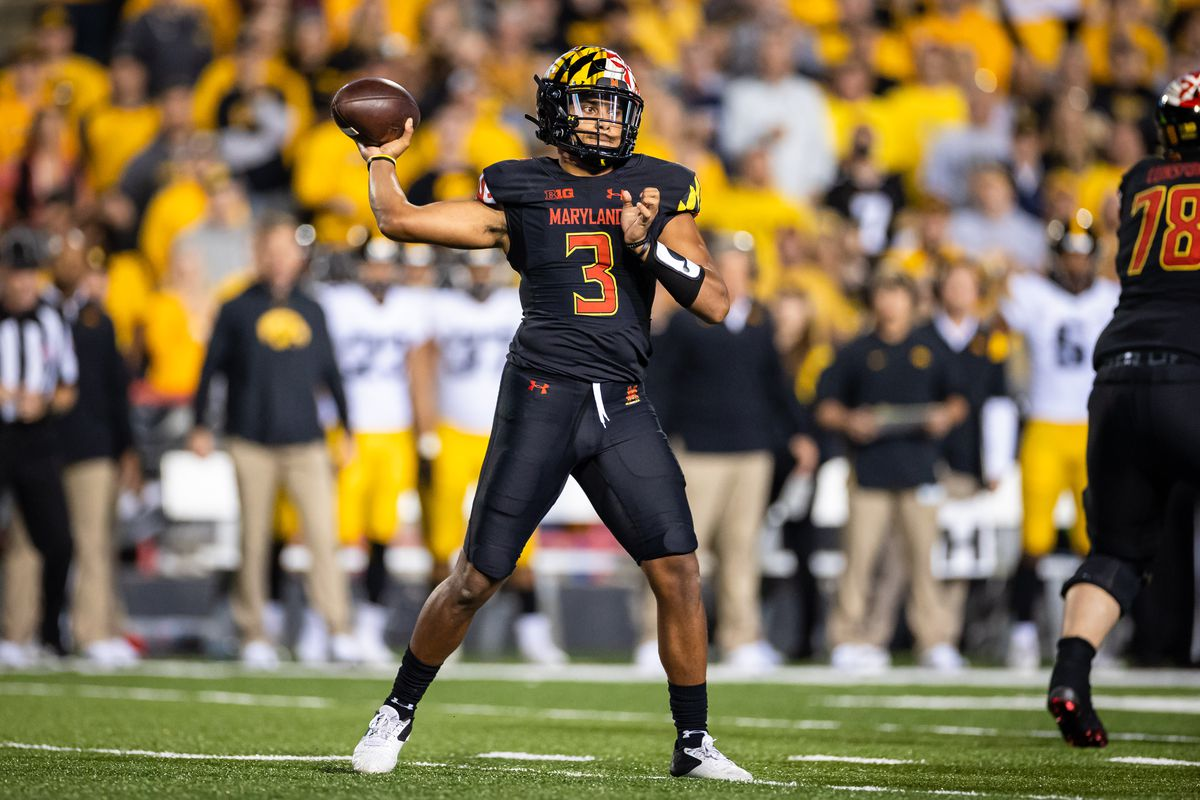 Maryland Terrapins quarterback Taulia Tagovailoa looks to pass against the Iowa Hawkeyes during the first half at Capital One Field at Maryland Stadium.