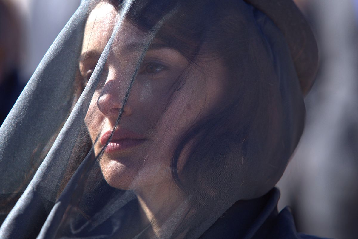 Close-up of Natalie Portman as Jackie Kennedy at John F. Kennedy's funeral.