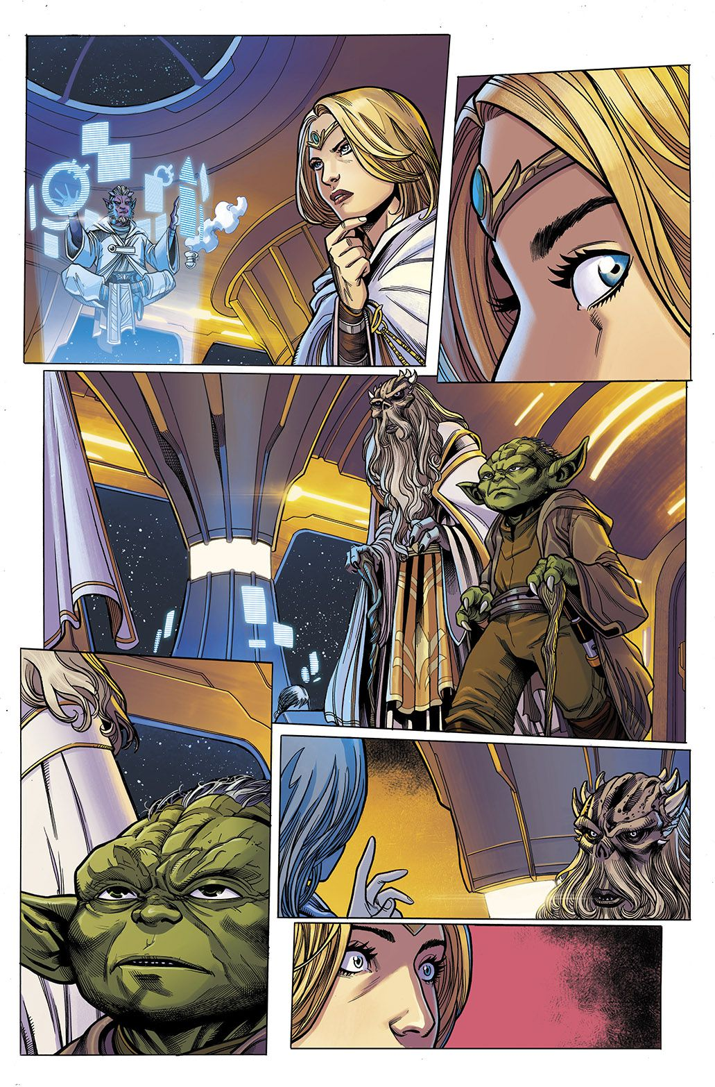 Jedi Master Avar Kriss looks away in surprise from the levitating Estala Maru to see Grandmasters Veter and Yoda approaching, in Star Wars: The High Republic #1, Marvel Comics (2021).