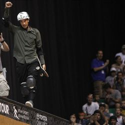 Bob Burnquist of Brazil after a good run in the vert final at Energy Solutions Arena for the Salt Lake City stop of the Dew Tour on Saturday, Sept. 10, 2011.