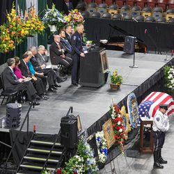 Salt Lake County Sheriff Jim Winder speaks at funeral services for Unified police officer Doug Barney at the Maverik Center in West Valley City on Monday, Jan. 25, 2016.