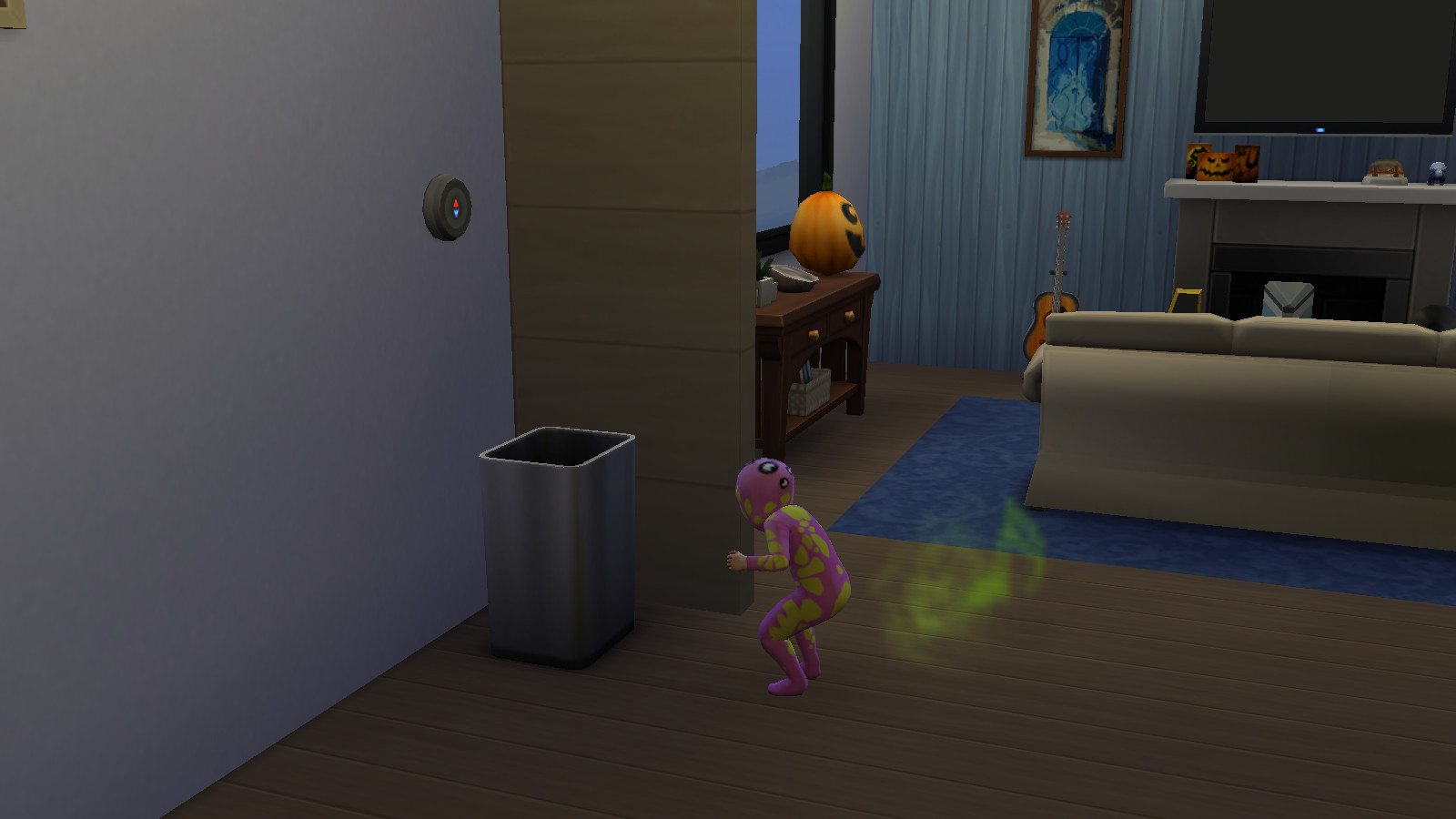 a toddler in the sims 4 about to push over a trash can while pooping in her diaper