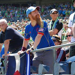 Colorado fan engages in happy banter at CenturyLink Field.