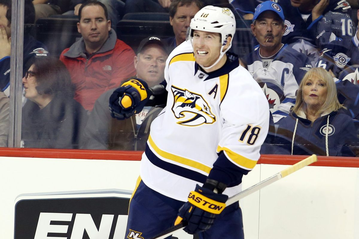 Winnipeg, Manitoba, CAN--Nashville Predators forward James Neal celebrates his goal during the third period against Winnipeg Jets at the MTS Centre on October 17, 2014. Nashville wins 2-0. Mandatory Credit: Bruce Fedyck-USA TODAY Sports