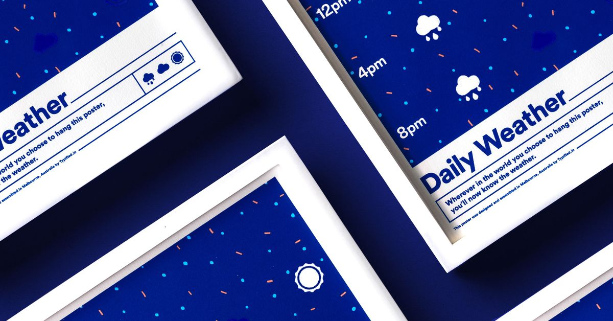 Close up of blue digital poster displaying white clouds