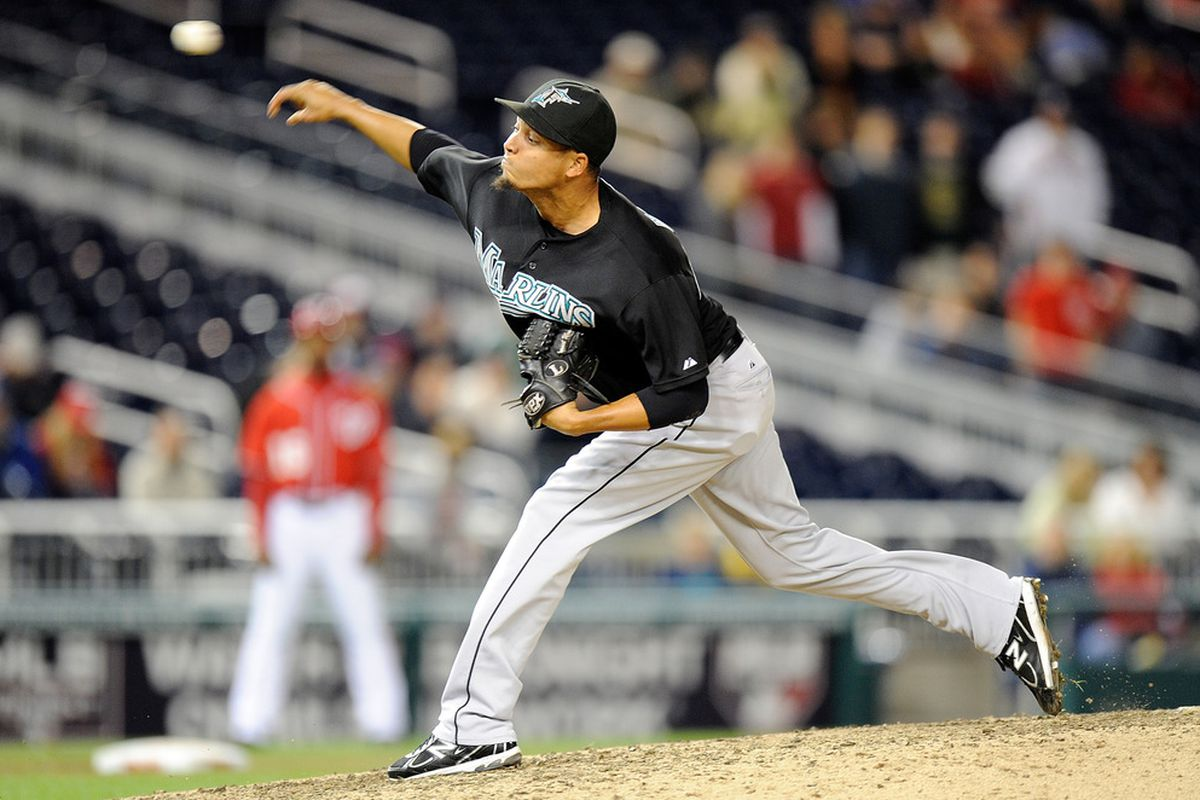 WASHINGTON, DC - SEPTEMBER 17:  Leo Nunez #46 of the Florida Marlins pitches against the Washington Nationals at Nationals Park on September 17, 2011 in Washington, DC.  (Photo by Greg Fiume/Getty Images)