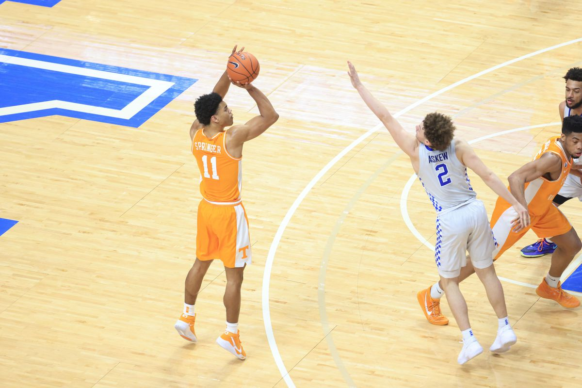 Jaden Springer of the Tennessee Volunteers shoots the ball against the Kentucky Wildcats at Rupp Arena on February 06, 2021 in Lexington, Kentucky.