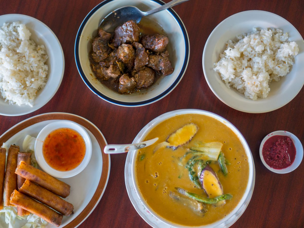 A plate of lumpia, adobo, and more from Portland Filipino restaurant Tambayan