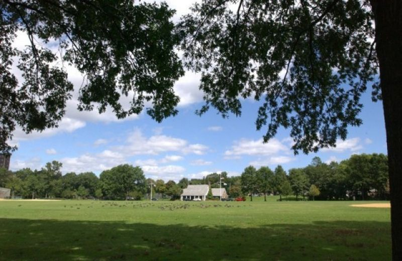 An expansion green field with a colonial building smack in the middle. The blue sky above it is dotted with puffy clouds.