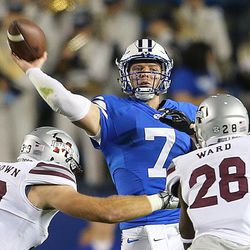 Brigham Young Cougars quarterback Taysom Hill (7) delivers a pass as BYU and Mississippi State play in Provo at LaVell Edwards Stadium on Friday, Oct. 14, 2016.