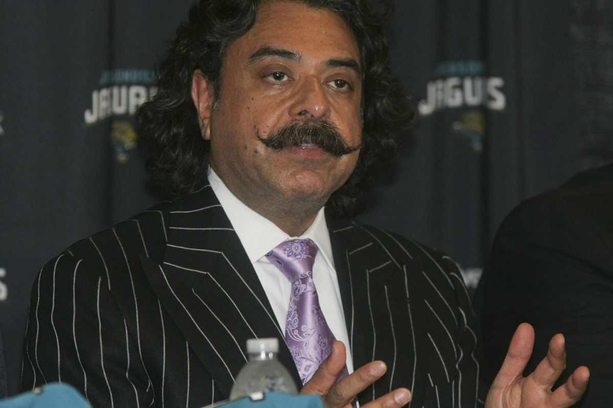 April 27, 2012; Jacksonville FL, USA;  Jacksonville Jaguars owner Shad Khan speaks about first round draft pick Justin Blackmon (not pictured) during a press conference at EverBank Field. Mandatory Credit: Phil Sears-US PRESSWIRE