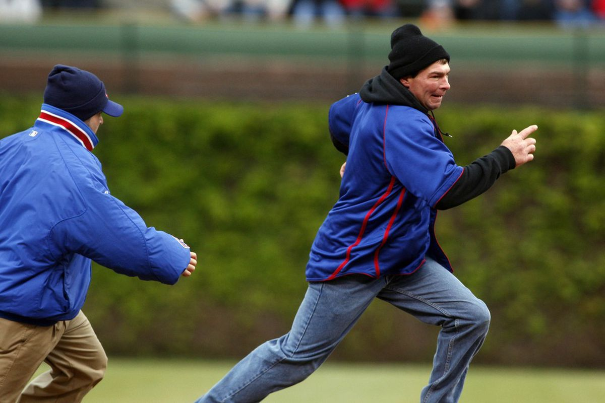 Apr 20, 2012; Chicago, IL, USA; Theo Epstein, long the admirer of Moneyball tactics, truly will do anything to get the Cubs additional baserunners.