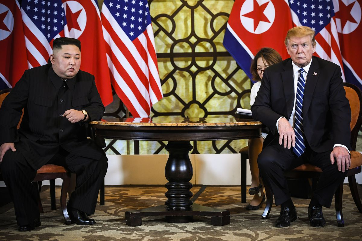 President Trump and North Korea's leader Kim Jong Un hold a meeting during the second US-North Korea summit in Hanoi, Vietnam on February 28, 2019.